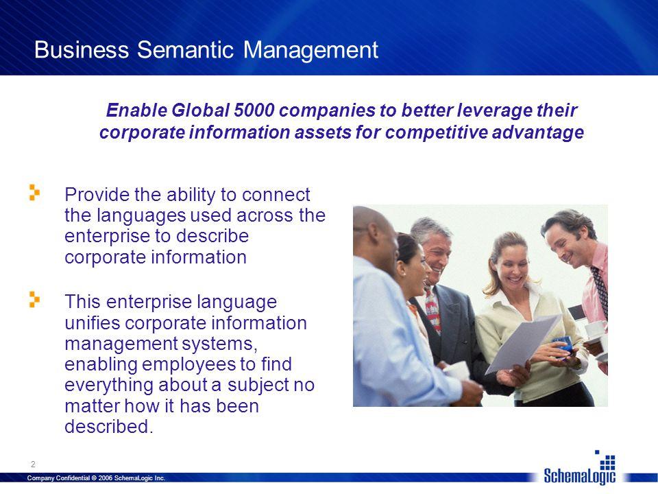 Company Confidential © 2006 SchemaLogic Inc.