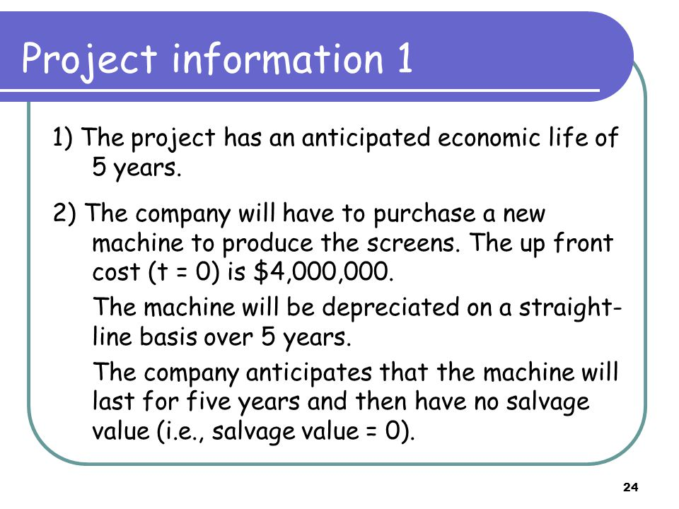 24 Project information 1 1) The project has an anticipated economic life of 5 years. 2) The company will have to purchase a new machine to produce the