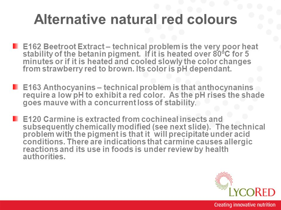 Alternative natural red colours E162 Beetroot Extract – technical problem is the very poor heat stability of the betanin pigment.