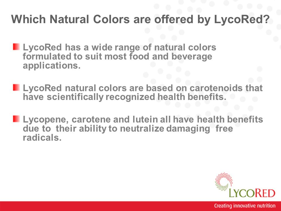 Which Natural Colors are offered by LycoRed.