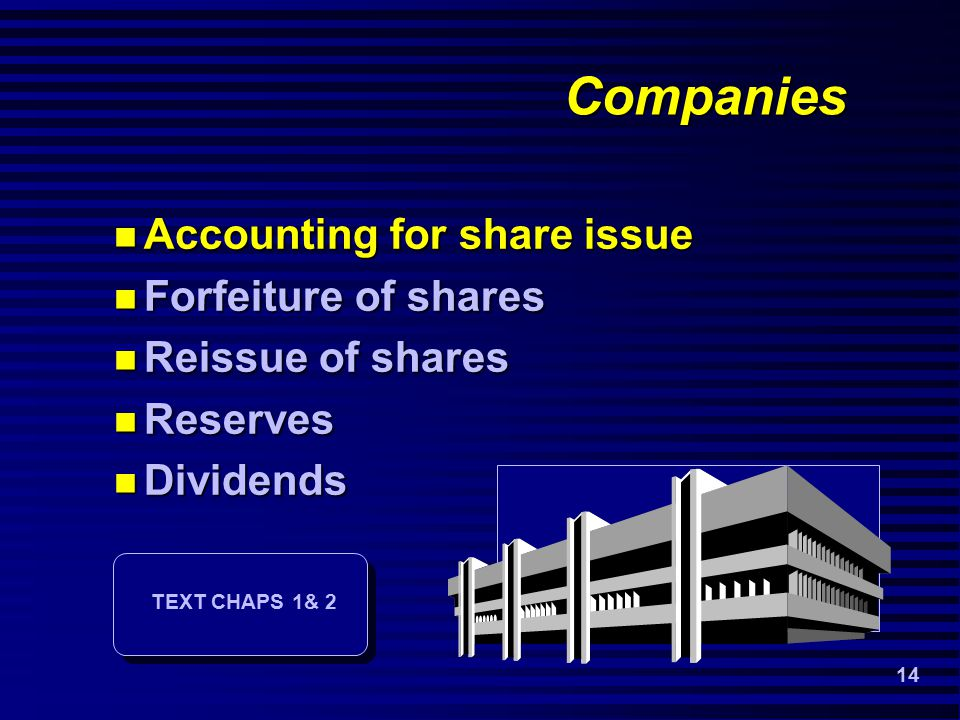 14 Companies Accounting for share issue Accounting for share issue Forfeiture of shares Forfeiture of shares Reissue of shares Reissue of shares Reserves Reserves Dividends Dividends TEXT CHAPS 1& 2