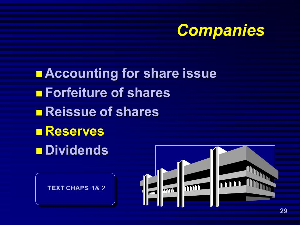 29 Companies Accounting for share issue Accounting for share issue Forfeiture of shares Forfeiture of shares Reissue of shares Reissue of shares Reserves Reserves Dividends Dividends TEXT CHAPS 1& 2