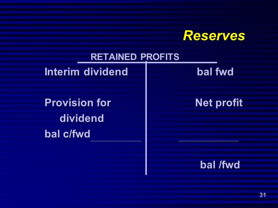 31 Reserves RETAINED PROFITS RETAINED PROFITS Interim dividend bal fwd Provision for Net profit dividend dividend bal c/fwd bal /fwd bal /fwd