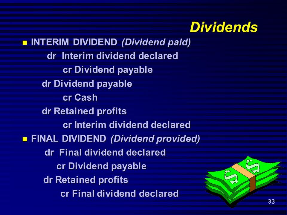 33 Dividends INTERIM DIVIDEND (Dividend paid) INTERIM DIVIDEND (Dividend paid) dr Interim dividend declared dr Interim dividend declared cr Dividend payable cr Dividend payable dr Dividend payable dr Dividend payable cr Cash cr Cash dr Retained profits dr Retained profits cr Interim dividend declared cr Interim dividend declared FINAL DIVIDEND (Dividend provided) FINAL DIVIDEND (Dividend provided) dr Final dividend declared dr Final dividend declared cr Dividend payable cr Dividend payable dr Retained profits dr Retained profits cr Final dividend declared cr Final dividend declared