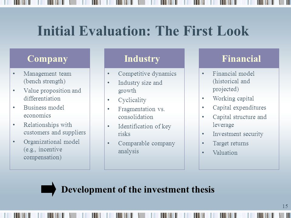 15 Initial Evaluation: The First Look CompanyIndustryFinancial Management team (bench strength) Value proposition and differentiation Business model e