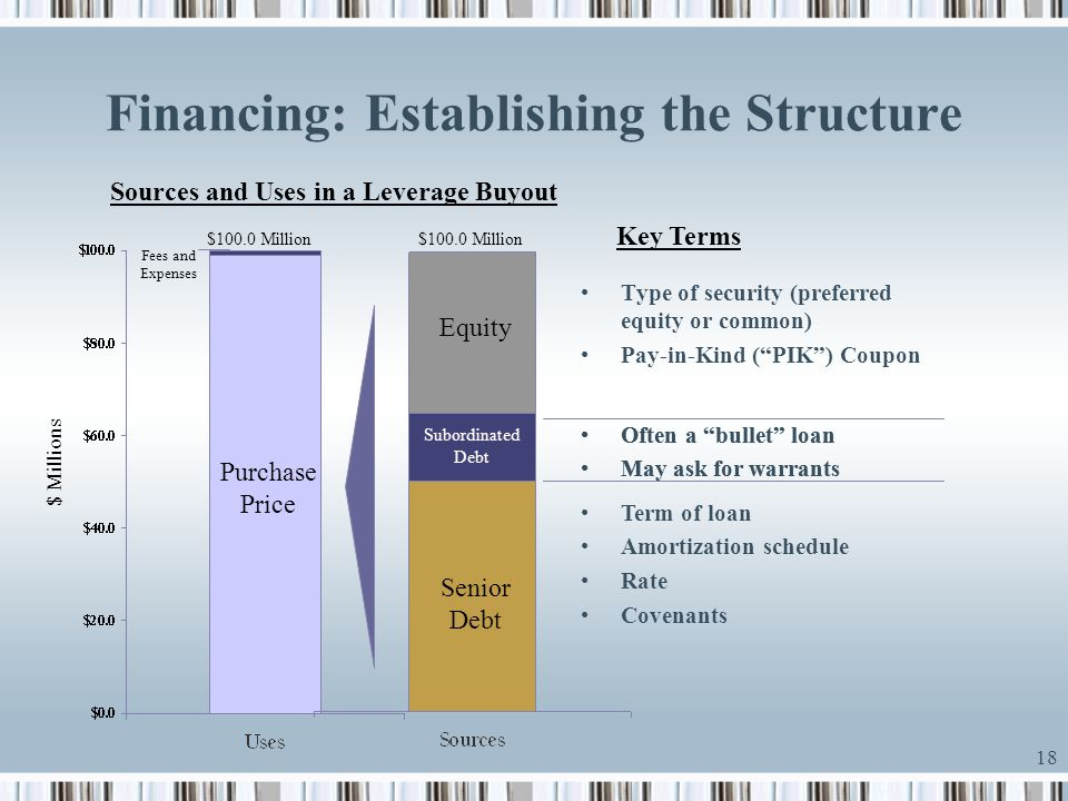 18 Financing: Establishing the Structure Sources and Uses in a Leverage Buyout $ Millions Purchase Price $100.0 Million Fees and Expenses $100.0 Milli