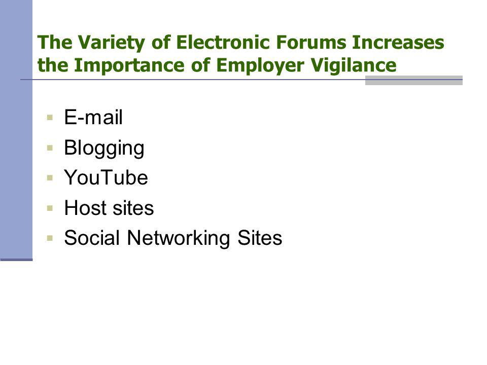 The Variety of Electronic Forums Increases the Importance of Employer Vigilance  E-mail  Blogging  YouTube  Host sites  Social Networking Sites