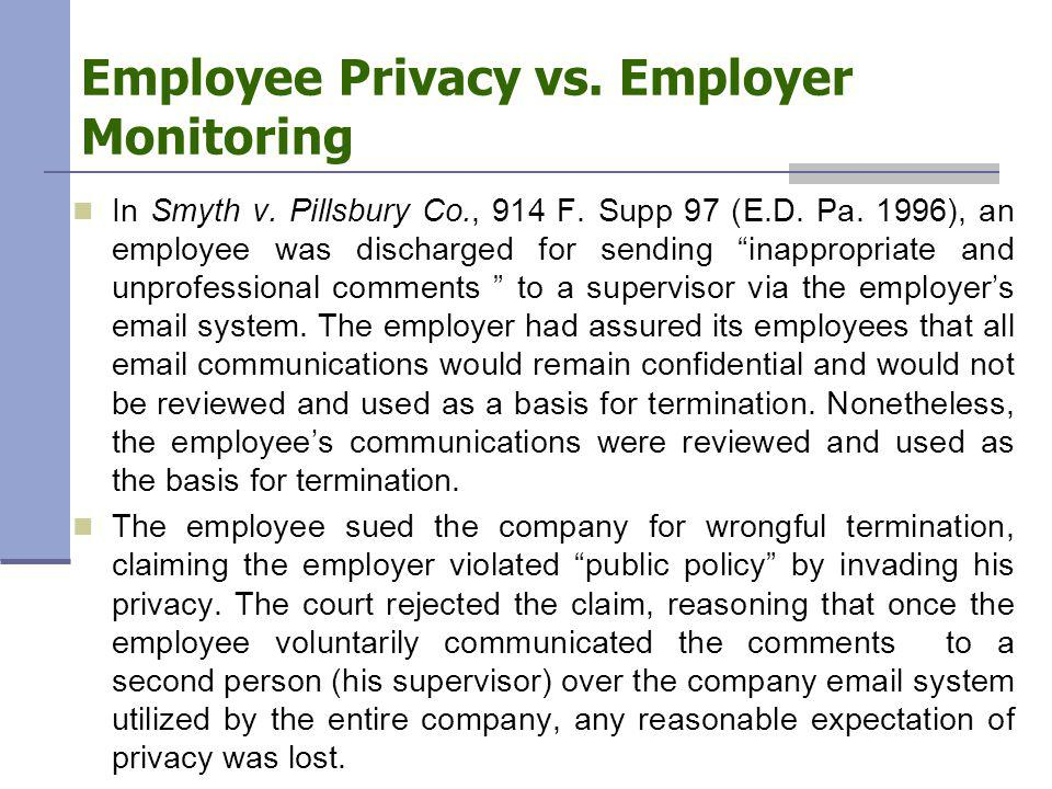 Employee Privacy vs. Employer Monitoring In Smyth v.