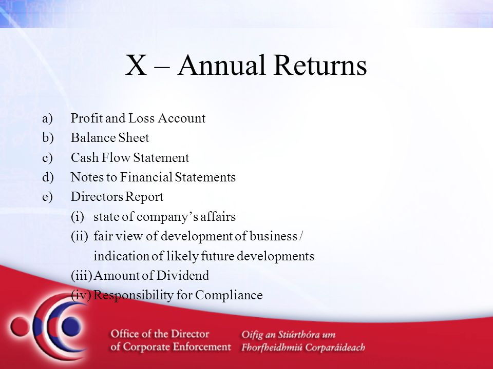 a)Profit and Loss Account b)Balance Sheet c)Cash Flow Statement d)Notes to Financial Statements e)Directors Report (i)state of company's affairs (ii)fair view of development of business / indication of likely future developments (iii)Amount of Dividend (iv)Responsibility for Compliance X – Annual Returns
