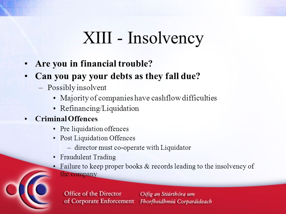XIII - Insolvency Are you in financial trouble? Can you pay your debts as they fall due? –Possibly insolvent Majority of companies have cashflow diffi