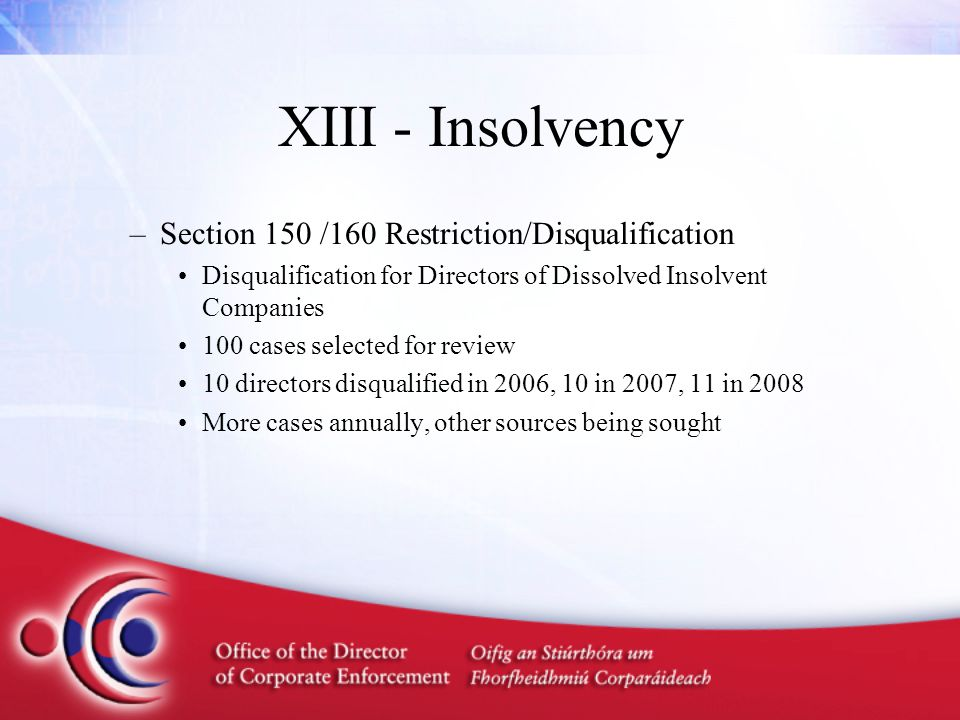 XIII - Insolvency –Section 150 /160 Restriction/Disqualification Disqualification for Directors of Dissolved Insolvent Companies 100 cases selected fo