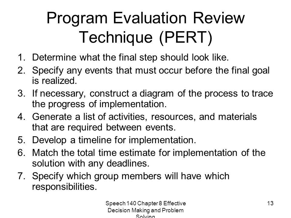 Speech 140 Chapter 8 Effective Decision Making and Problem Solving 13 Program Evaluation Review Technique (PERT) 1.Determine what the final step shoul