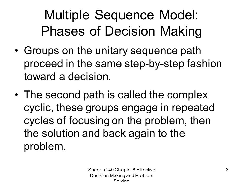 Speech 140 Chapter 8 Effective Decision Making and Problem Solving 3 Multiple Sequence Model: Phases of Decision Making Groups on the unitary sequence