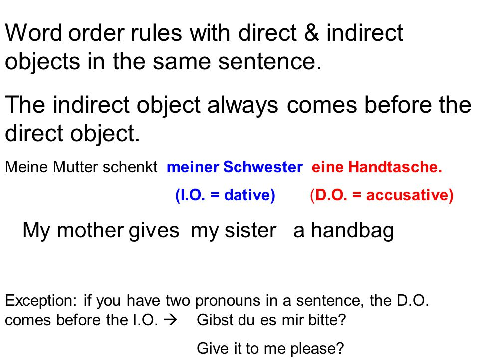 Word order rules with direct & indirect objects in the same sentence. The indirect object always comes before the direct object. Meine Mutter schenkt