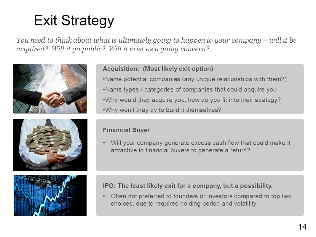 14 Exit Strategy Acquisition: (Most likely exit option) Name potential companies (any unique relationships with them?) Name types / categories of companies that could acquire you Why would they acquire you, how do you fit into their strategy.