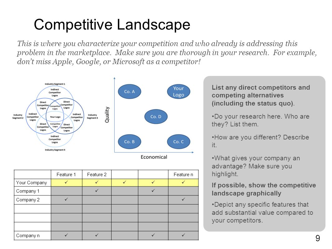 9 Competitive Landscape List any direct competitors and competing alternatives (including the status quo).