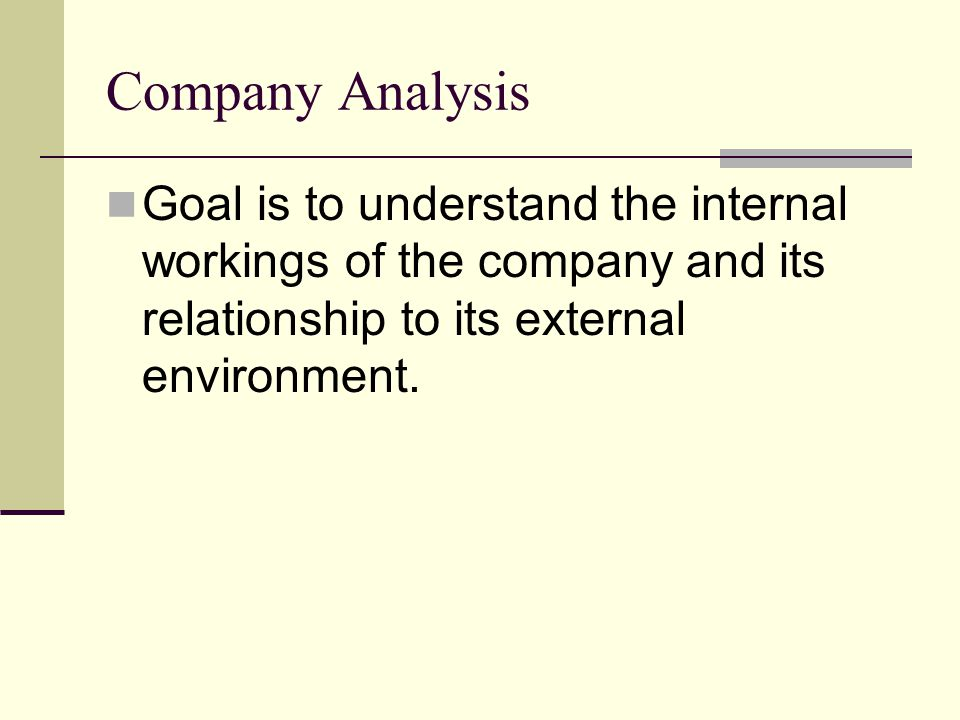Environmental/Industry Analysis This carries over from your prior work.