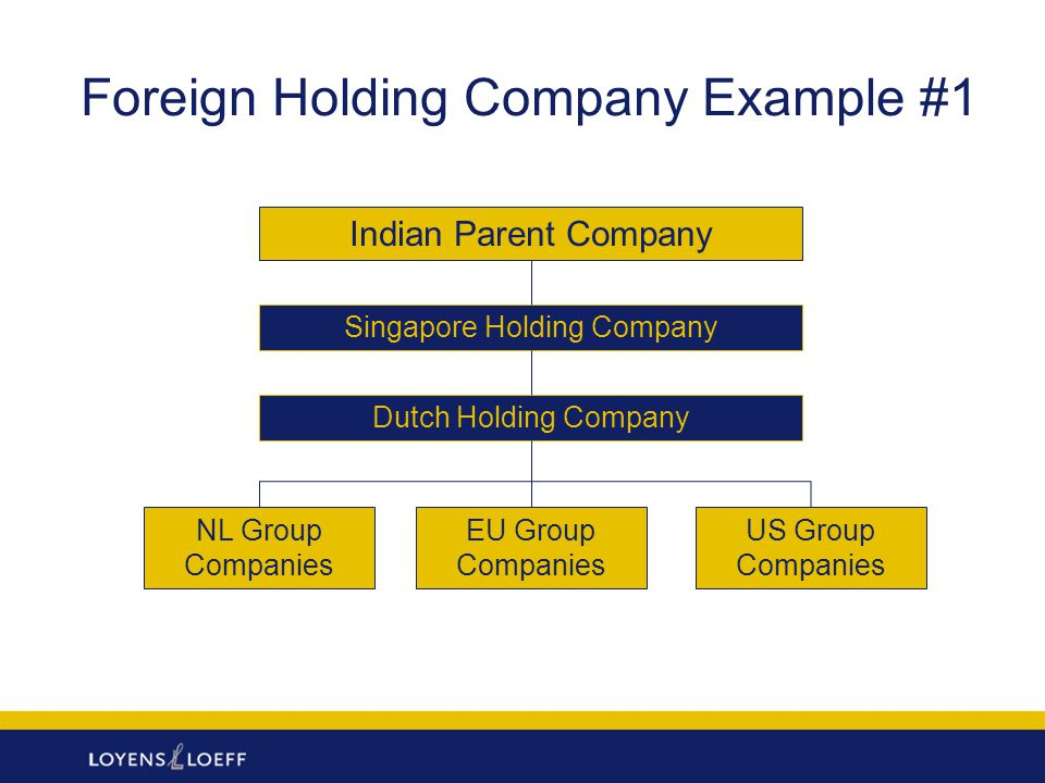 Foreign Holding Company Example #2 Indian Parent Company Luxembourg Holding Company EU Group Companies Asian Group Companies Mauritius Holding Company Singapore Holding Company
