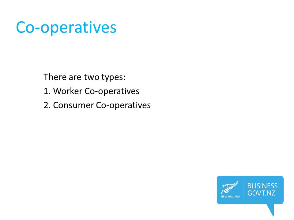 Co-operatives There are two types: 1. Worker Co-operatives 2. Consumer Co-operatives