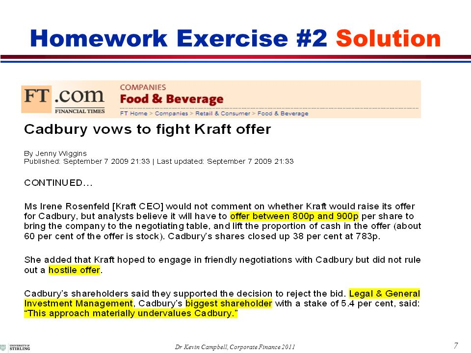 7 Dr Kevin Campbell, Corporate Finance 2011 Homework Exercise #2 Solution