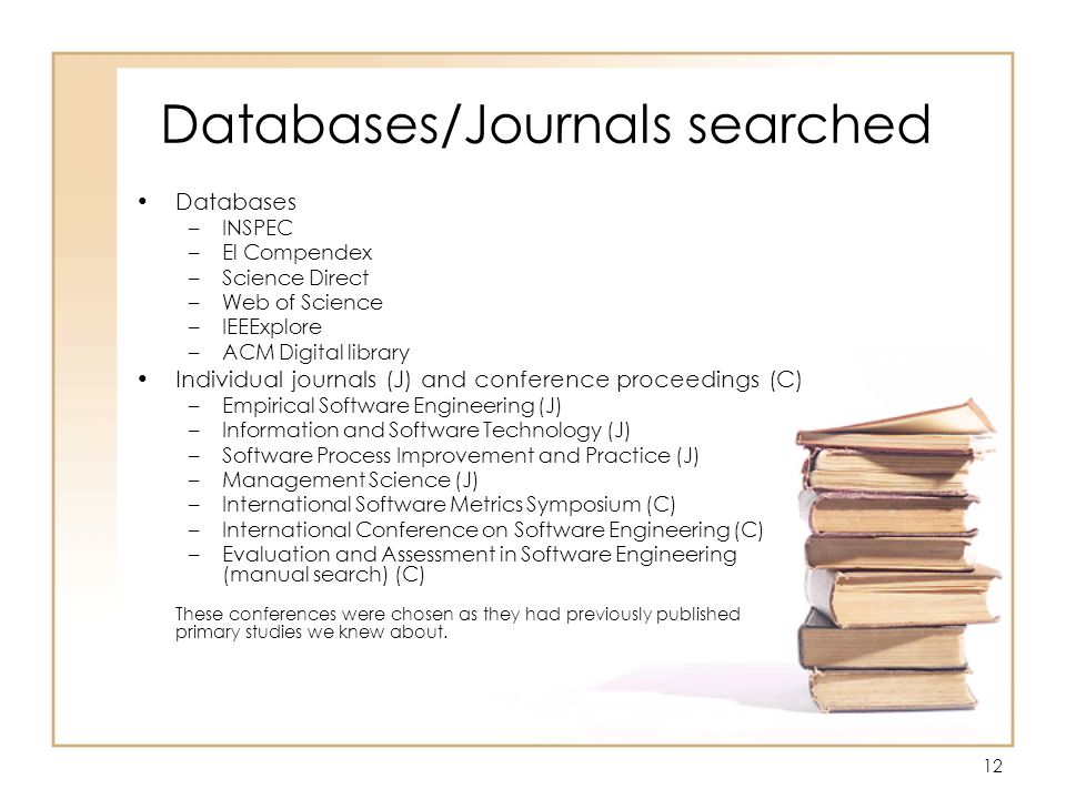 12 Databases/Journals searched Databases –INSPEC –El Compendex –Science Direct –Web of Science –IEEExplore –ACM Digital library Individual journals (J) and conference proceedings (C) –Empirical Software Engineering (J) –Information and Software Technology (J) –Software Process Improvement and Practice (J) –Management Science (J) –International Software Metrics Symposium (C) –International Conference on Software Engineering (C) –Evaluation and Assessment in Software Engineering (manual search) (C) These conferences were chosen as they had previously published primary studies we knew about.