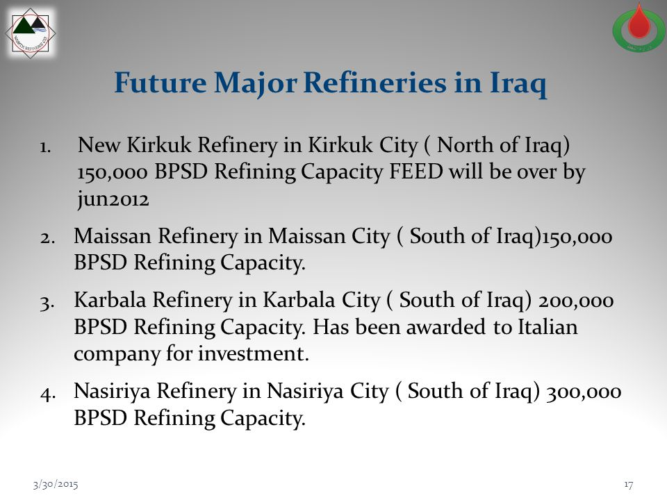 Future Major Refineries in Iraq 1. New Kirkuk Refinery in Kirkuk City ( North of Iraq) 150,000 BPSD Refining Capacity FEED will be over by jun2012 2.