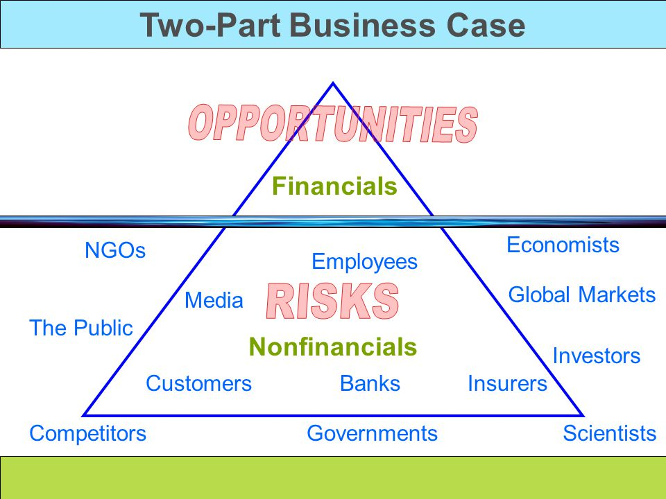 Two-Part Business Case Nonfinancials Financials Employees Customers Media Economists Scientists NGOs Competitors Global Markets Governments Insurers T