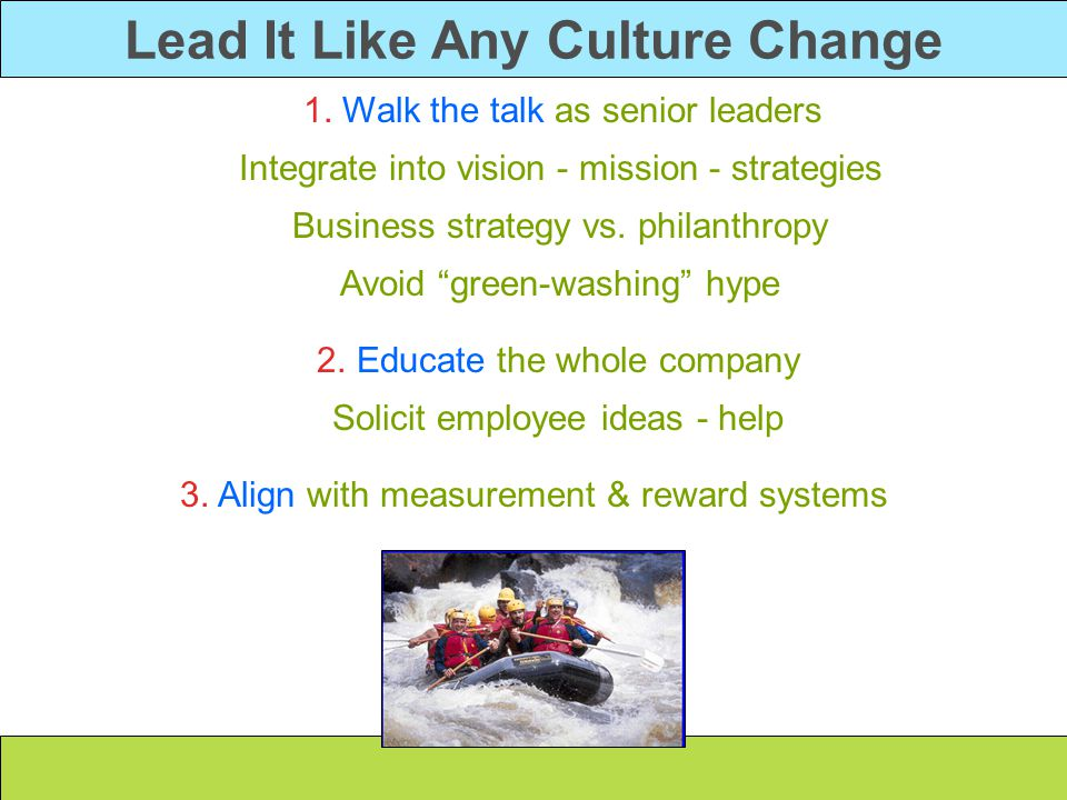 Lead It Like Any Culture Change 1. Walk the talk as senior leaders Integrate into vision - mission - strategies Business strategy vs. philanthropy Avo