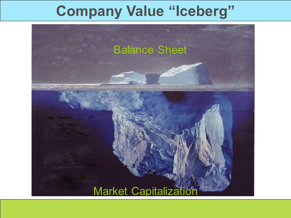 Company Value Iceberg Intangibles Nonfinancials - Brand Image Reputation - Stakeholder Relationships Tangibles Financials Market Capitalization Balance Sheet