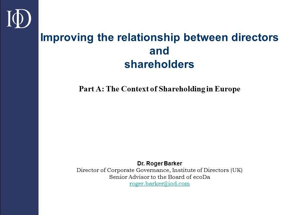2 The structure of company ownership in Europe  The Berle and Means vision of dispersed shareholdings offers a good description of listed corporations in the United States and the UK  It was assumed that it was a common feature of economic development in all countries…but new evidence emerged in the 1990s  Initial work on ownership structure of listed European companies undertaken by Franks and Mayer (1995)…it turns out that shareholdings in continental Europe are often not widely dispersed.