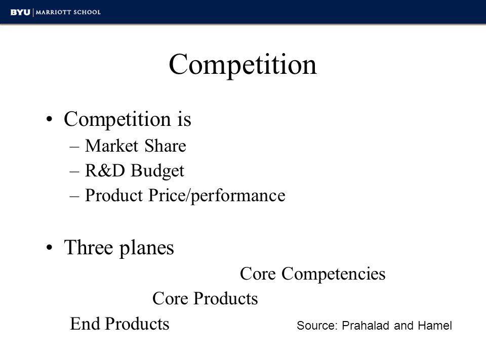 Core Competencies Three-way test Potential access to wide variety of markets Make a significant contribution to the perceived customer benefits to consumer Difficult for competitors to imitate Source: Prahalad and Hamel