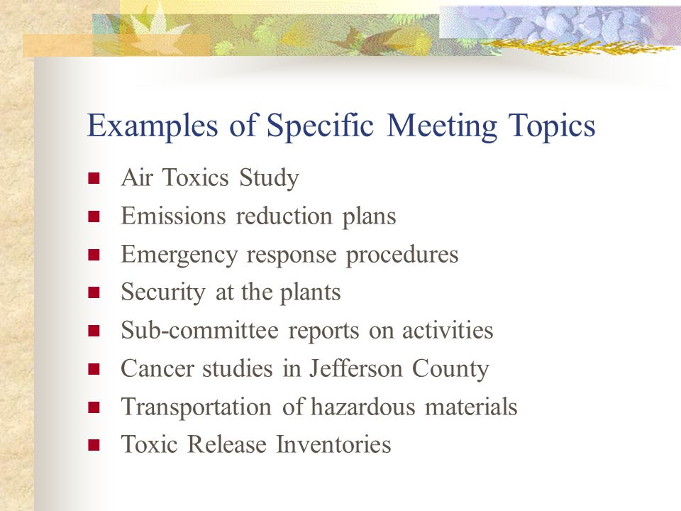 Examples of Specific Meeting Topics Air Toxics Study Emissions reduction plans Emergency response procedures Security at the plants Sub-committee reports on activities Cancer studies in Jefferson County Transportation of hazardous materials Toxic Release Inventories