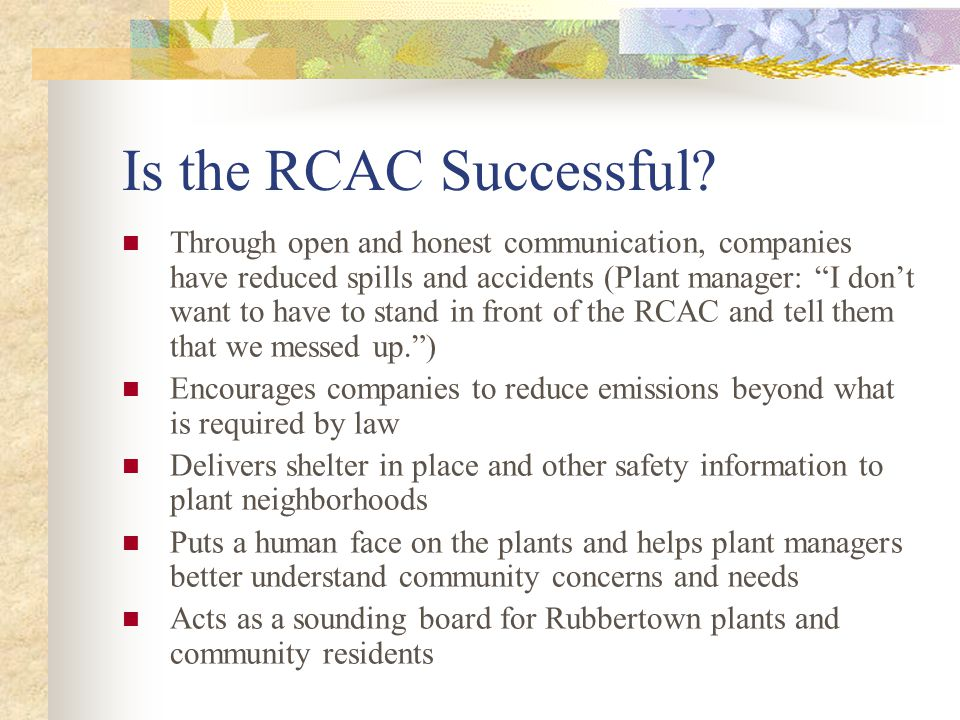 Is the RCAC Successful.