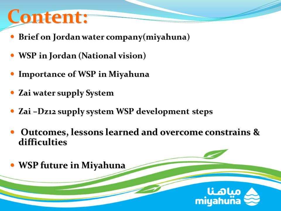 Content: Brief on Jordan water company(miyahuna) Brief on Jordan water company(miyahuna) WSP in Jordan (National vision) WSP in Jordan (National visio