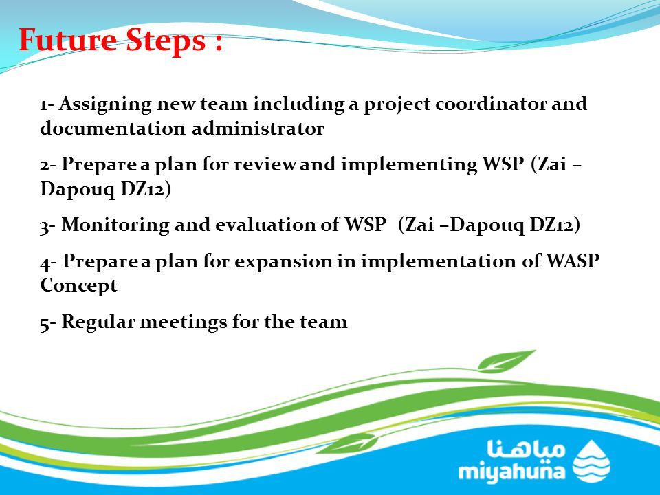 Future Steps : 1- Assigning new team including a project coordinator and documentation administrator 2- Prepare a plan for review and implementing WSP