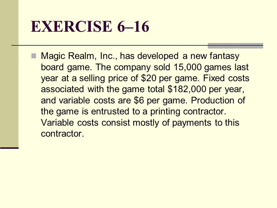 EXERCISE 6–16 Magic Realm, Inc., has developed a new fantasy board game.