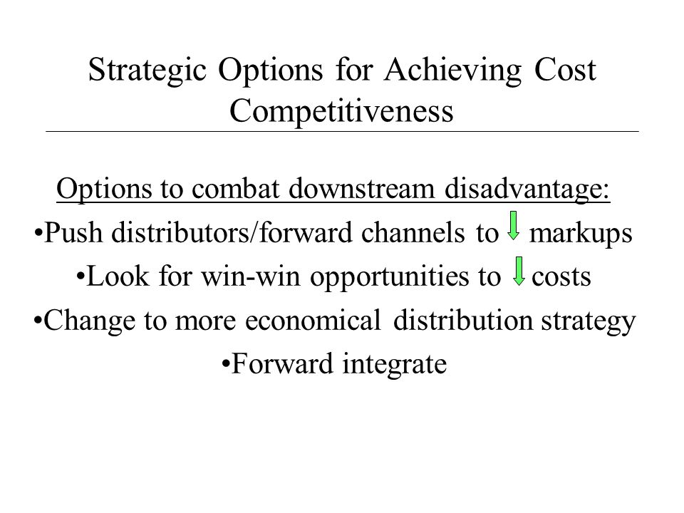Strategic Options for Achieving Cost Competitiveness Options to combat downstream disadvantage: Push distributors/forward channels to markups Look for