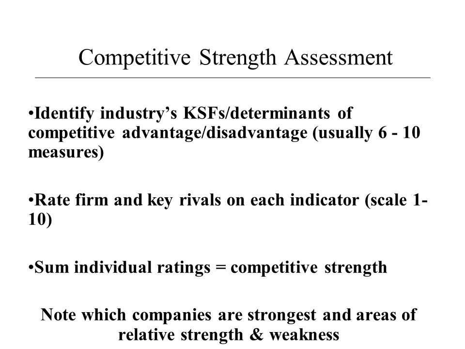 Competitive Strength Assessment Identify industry's KSFs/determinants of competitive advantage/disadvantage (usually 6 - 10 measures) Rate firm and ke