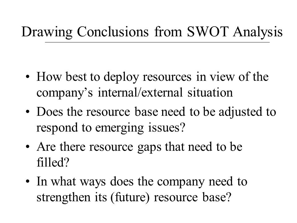 Drawing Conclusions from SWOT Analysis How best to deploy resources in view of the company's internal/external situation Does the resource base need t