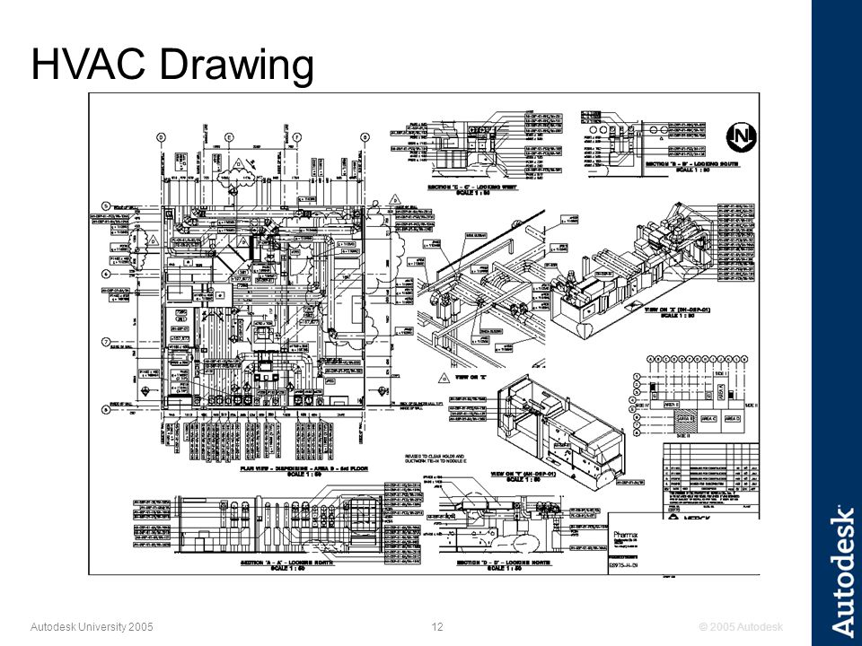 © 2005 Autodesk12 Autodesk University 2005 HVAC Drawing