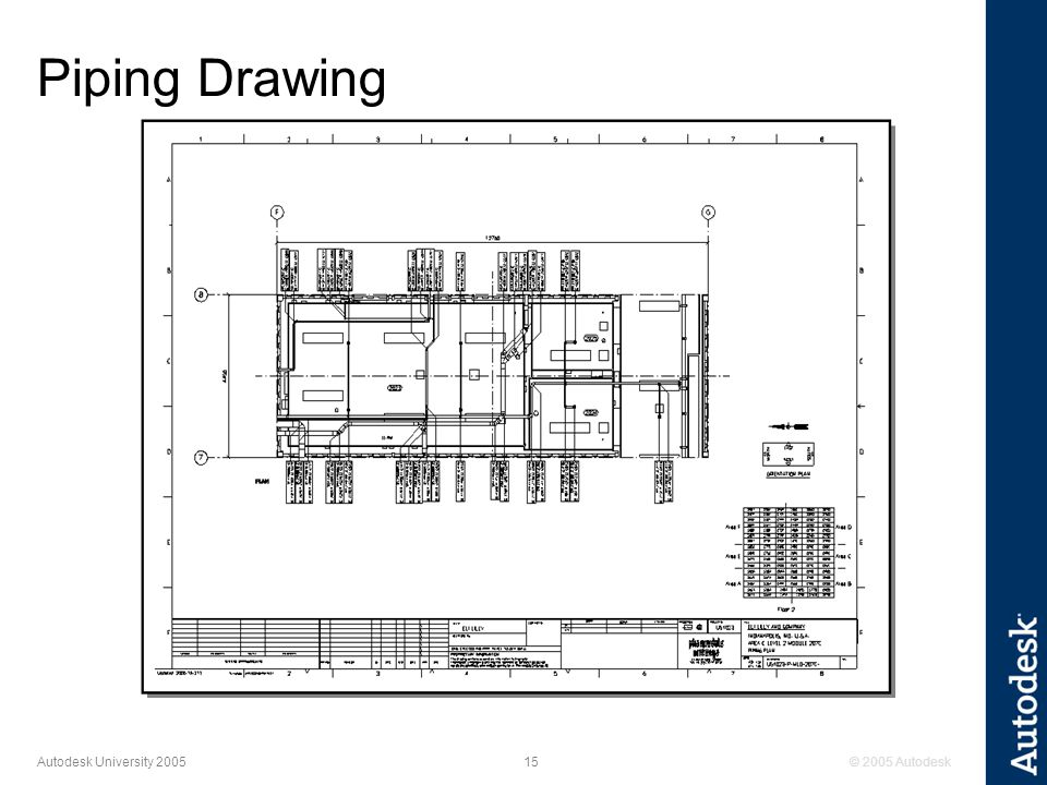 © 2005 Autodesk15 Autodesk University 2005 Piping Drawing