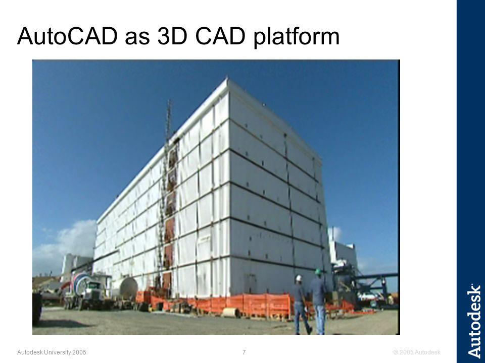 © 2005 Autodesk8 Autodesk University 2005 PDMS 3D CAD platform