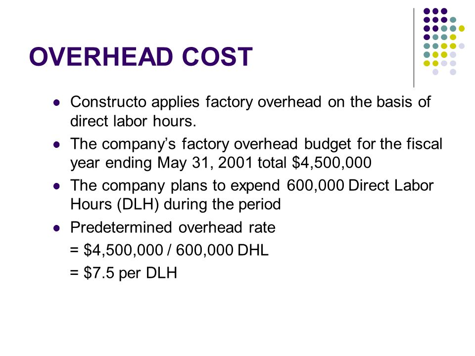 OVERHEAD COST Constructo applies factory overhead on the basis of direct labor hours.