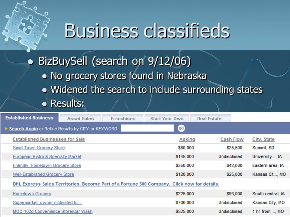 Business classifieds BizBuySell (search on 9/12/06) No grocery stores found in Nebraska Widened the search to include surrounding states Results: BizBuySell (search on 9/12/06) No grocery stores found in Nebraska Widened the search to include surrounding states Results: