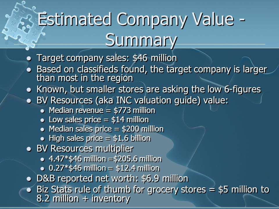 Estimated Company Value - Summary Target company sales: $46 million Based on classifieds found, the target company is larger than most in the region Known, but smaller stores are asking the low 6-figures BV Resources (aka INC valuation guide) value: Median revenue = $773 million Low sales price = $14 million Median sales price = $200 million High sales price = $1.6 billion BV Resources multiplier 4.47*$46 million =$205.6 million 0.27*$46 million = $12.4 million D&B reported net worth: $6.9 million Biz Stats rule of thumb for grocery stores = $5 million to 8.2 million + inventory Target company sales: $46 million Based on classifieds found, the target company is larger than most in the region Known, but smaller stores are asking the low 6-figures BV Resources (aka INC valuation guide) value: Median revenue = $773 million Low sales price = $14 million Median sales price = $200 million High sales price = $1.6 billion BV Resources multiplier 4.47*$46 million =$205.6 million 0.27*$46 million = $12.4 million D&B reported net worth: $6.9 million Biz Stats rule of thumb for grocery stores = $5 million to 8.2 million + inventory
