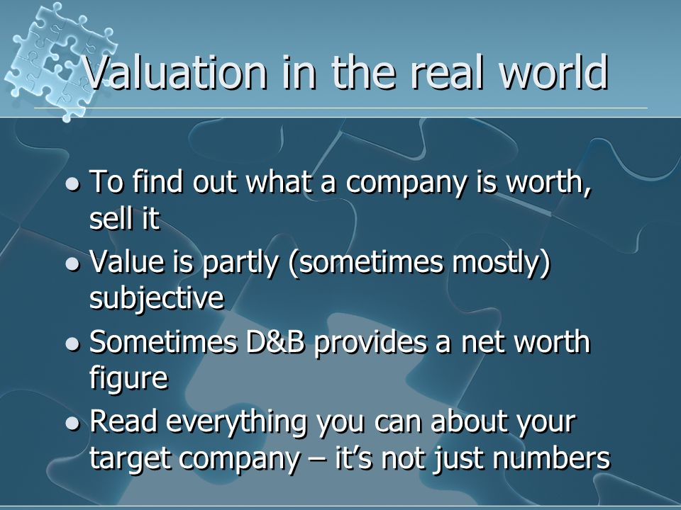 Estimated Value The target company is worth $300,000-600,000 $2,000,000-10,000,000 $10,000,000-20,000,000 Over $50,000,000 None of the above I haven't got a clue The target company is worth $300,000-600,000 $2,000,000-10,000,000 $10,000,000-20,000,000 Over $50,000,000 None of the above I haven't got a clue