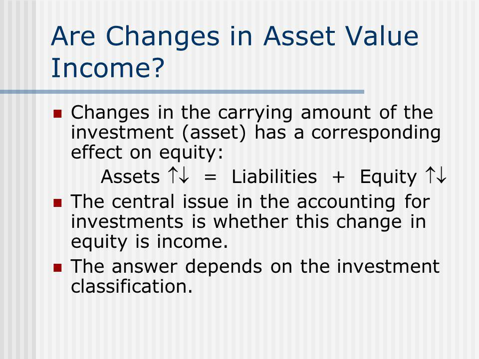 Are Changes in Asset Value Income? Changes in the carrying amount of the investment (asset) has a corresponding effect on equity: Assets  = Liabilit