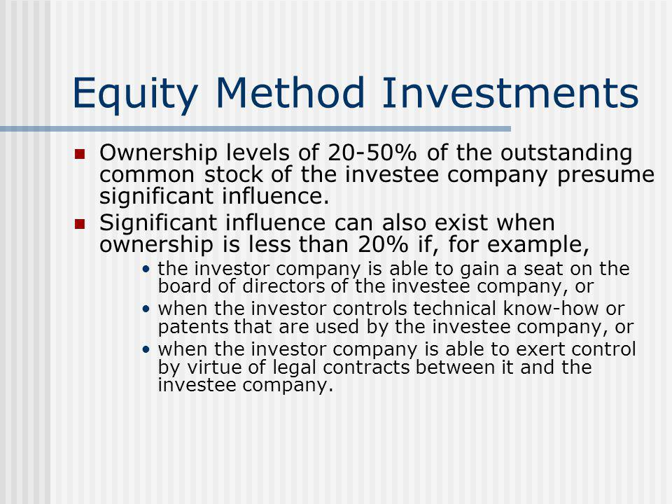 Equity Method Investments Ownership levels of 20-50% of the outstanding common stock of the investee company presume significant influence. Significan