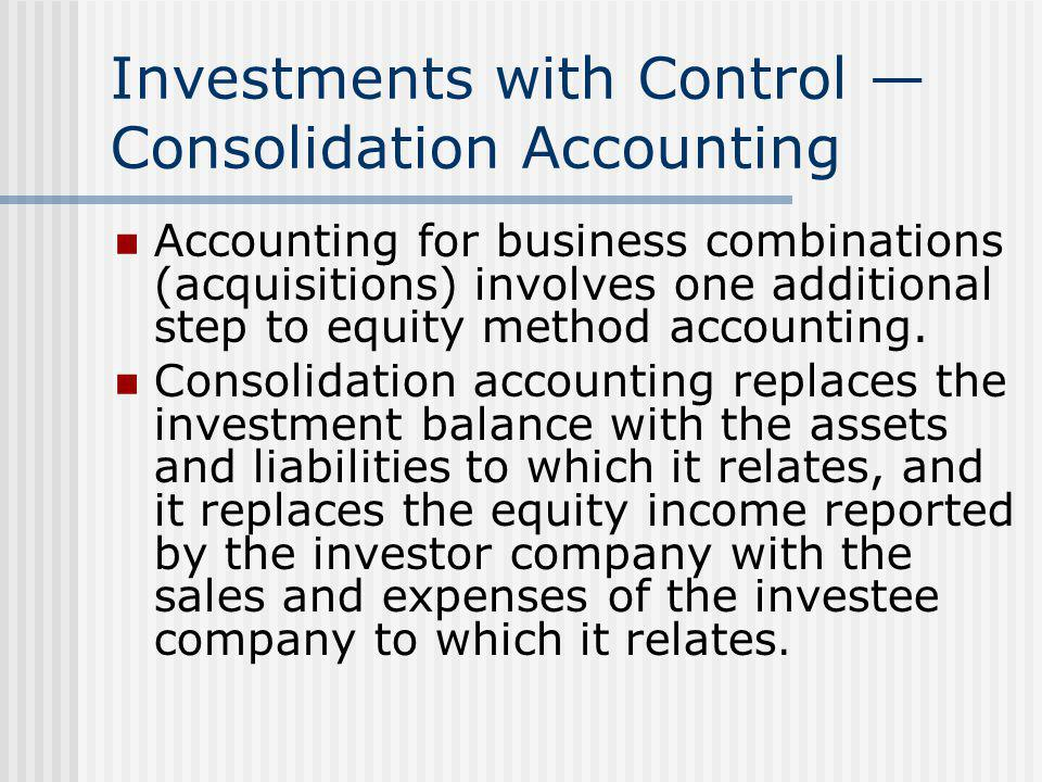 Investments with Control — Consolidation Accounting Accounting for business combinations (acquisitions) involves one additional step to equity method