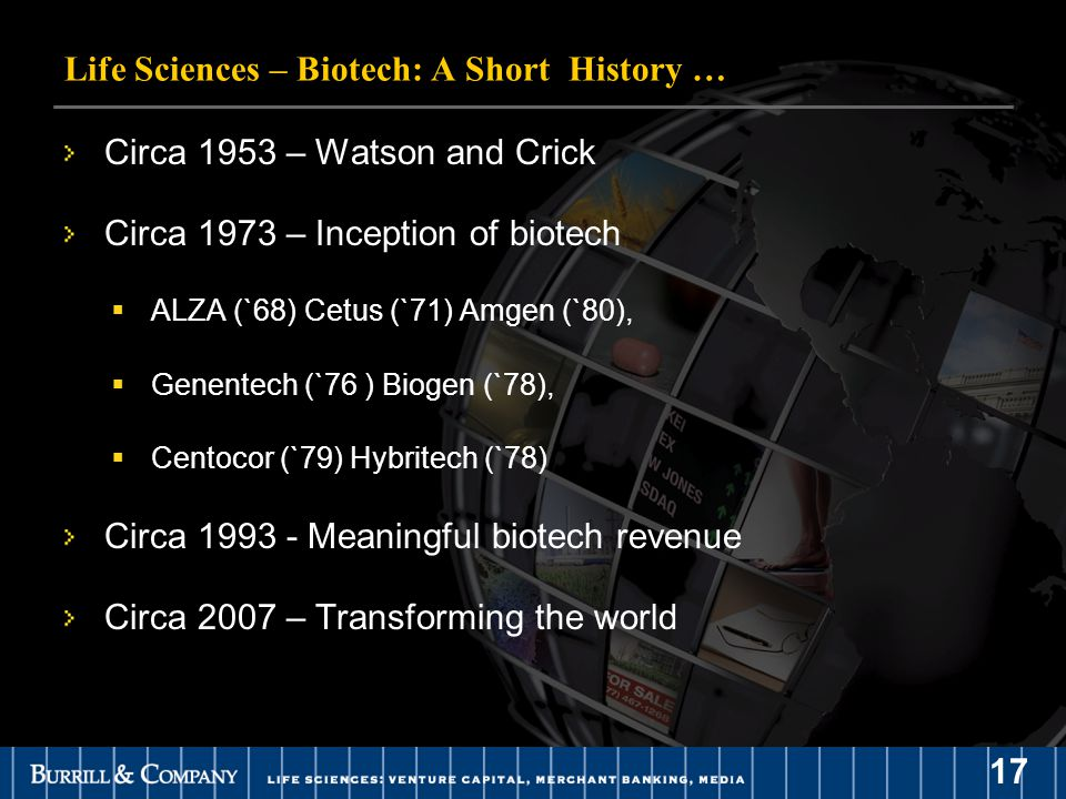 17 Circa 1953 – Watson and Crick Circa 1973 – Inception of biotech  ALZA (`68) Cetus (`71) Amgen (`80),  Genentech (`76 ) Biogen (`78),  Centocor (`79) Hybritech (`78) Circa 1993 - Meaningful biotech revenue Circa 2007 – Transforming the world Life Sciences – Biotech: A Short History …